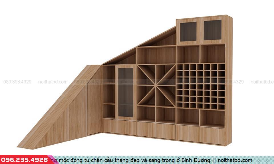 Xưởng mộc đóng tủ chân cầu thang đẹp và sang trọng ở Bình Dương