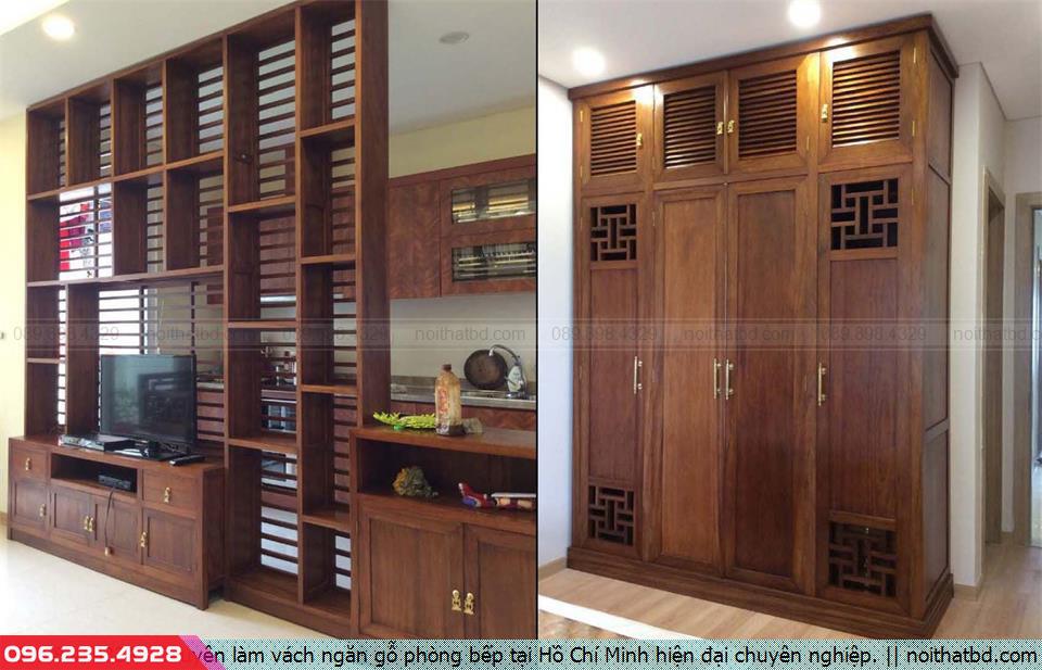 Chuyên làm vách ngăn gỗ phòng bếp tại Hồ Chí Minh hiện đại chuyên nghiệp.