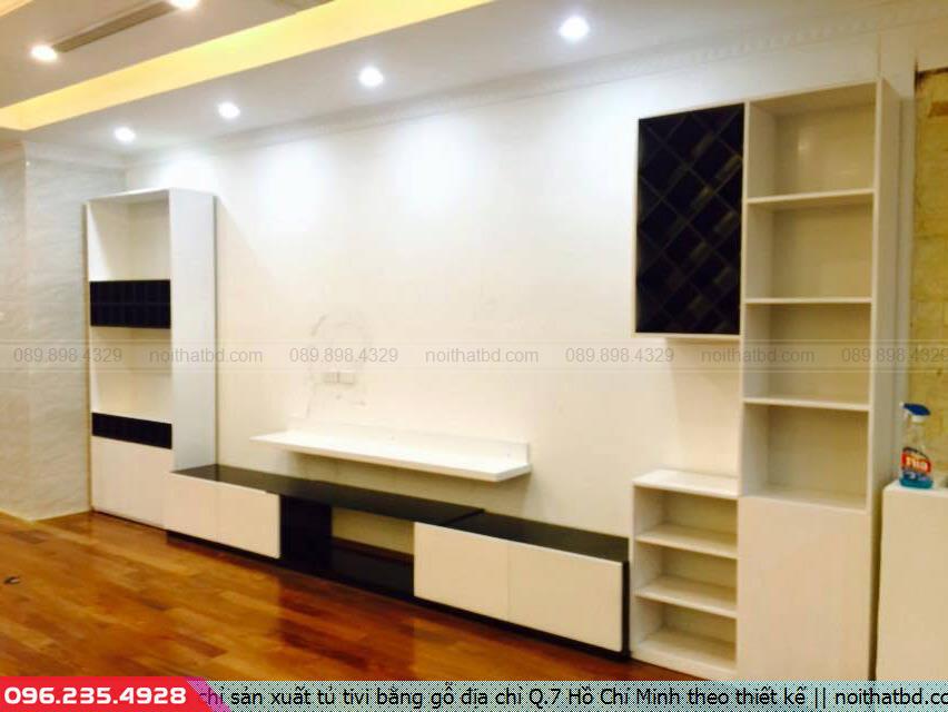 Địa chỉ sản xuất tủ tivi bằng gỗ địa chỉ Q.7 Hồ Chí Minh theo thiết kế