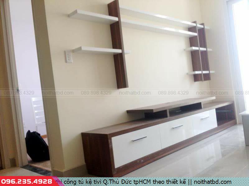 Nơi thi công tủ kệ tivi Q.Thủ Đức tpHCM theo thiết kế