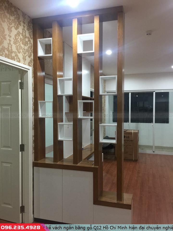 Thiết kế vách ngăn bằng gỗ Q12 Hồ Chí Minh hiện đại chuyên nghiệp.