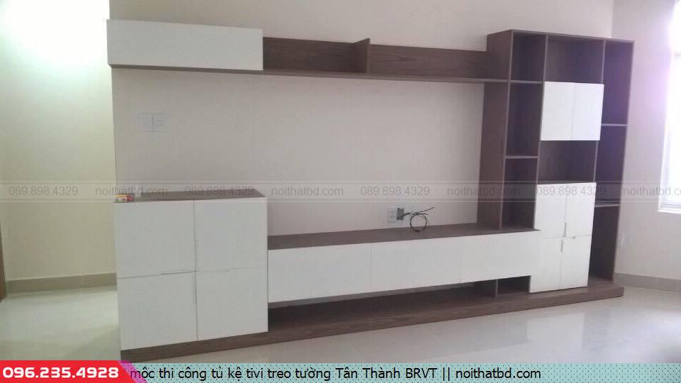 Thợ mộc thi công tủ kệ tivi treo tường Tân Thành BRVT