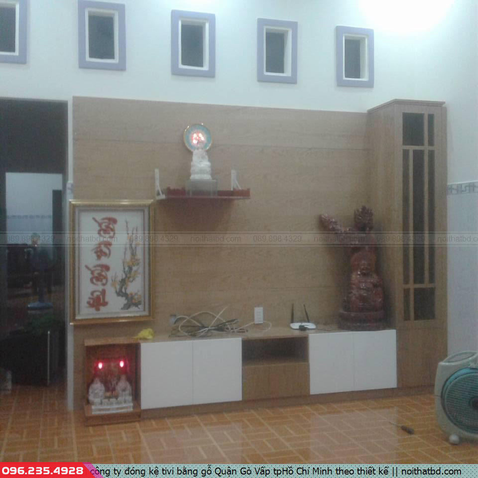 Tìm công ty đóng kệ tivi bằng gỗ Quận Gò Vấp tpHồ Chí Minh theo thiết kế