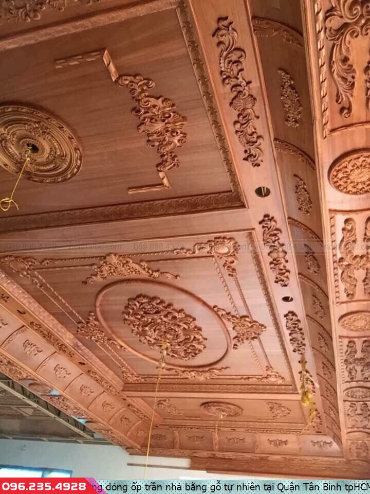Xưởng đóng ốp trần nhà bằng gỗ tự nhiên tại Quận Tân Bình tpHCM