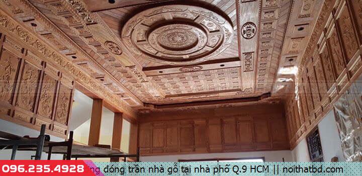 Xưởng đóng trần nhà gỗ tại nhà phố Q.9 HCM