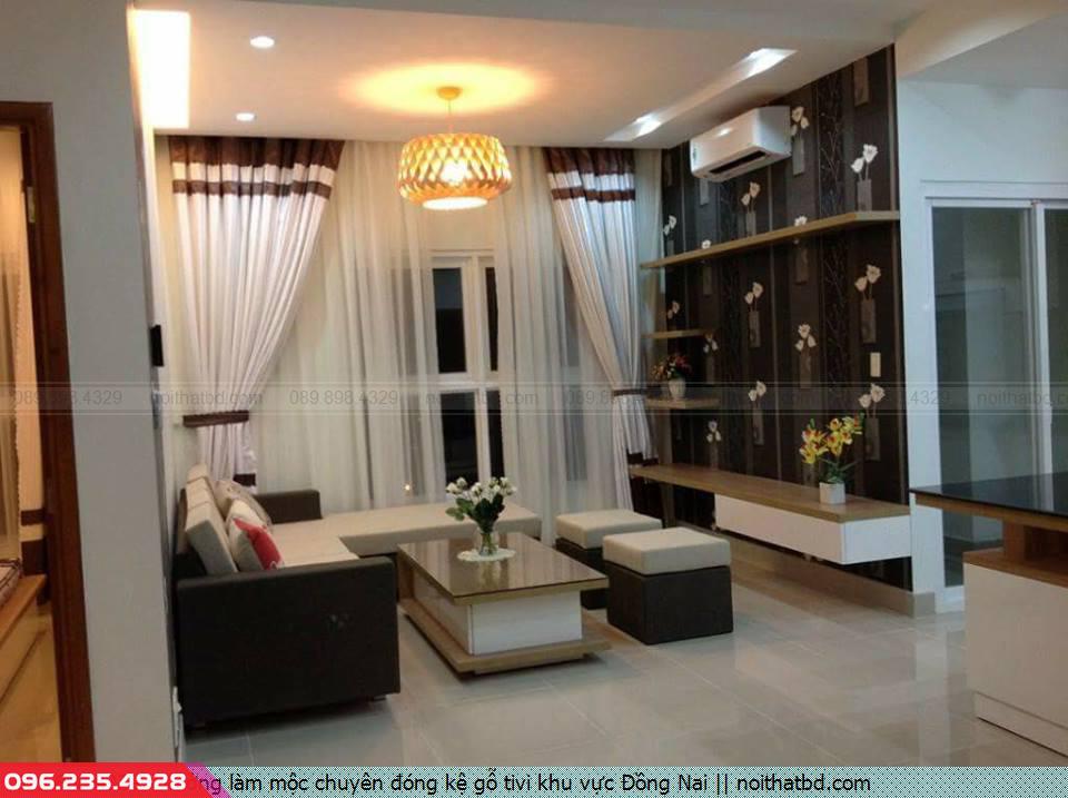 Xưởng làm mộc chuyên đóng kệ gỗ tivi khu vực Đồng Nai