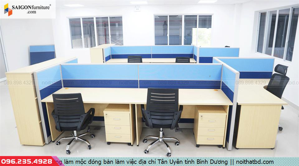Xưởng làm mộc đóng bàn làm việc địa chỉ Tân Uyên tỉnh Bình Dương