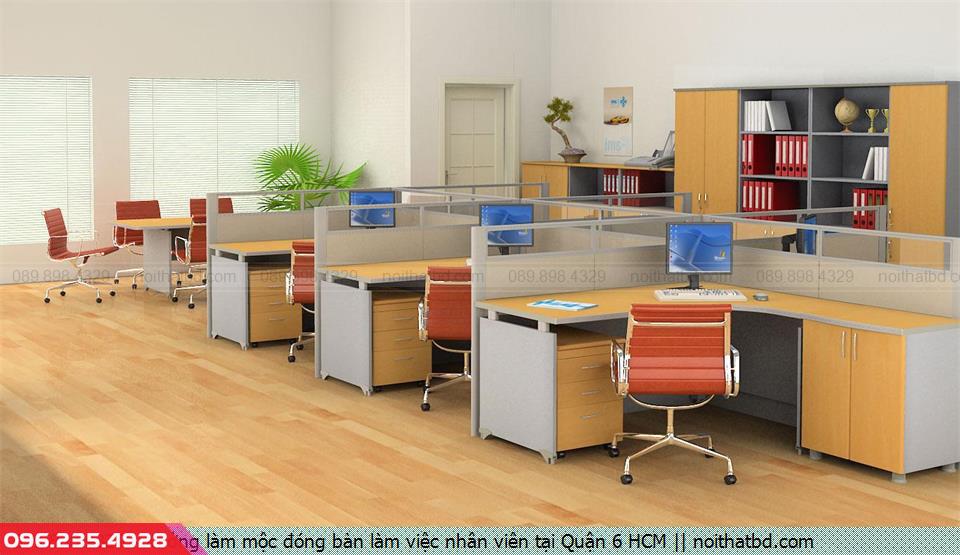 Xưởng làm mộc đóng bàn làm việc nhân viên tại Quận 6 HCM