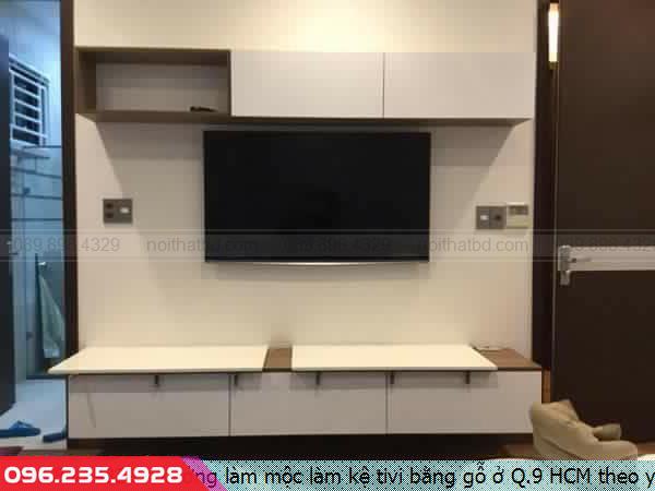 Xưởng làm mộc làm kệ tivi bằng gỗ ở Q.9 HCM theo yêu cầu