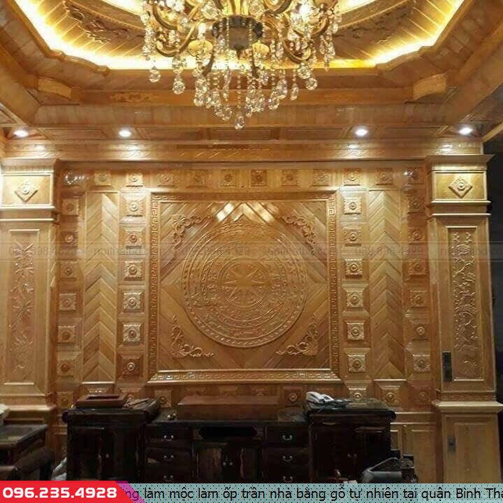 Xưởng làm mộc làm ốp trần nhà bằng gỗ tự nhiên tại quận Bình Thạnh Hồ Chí Minh