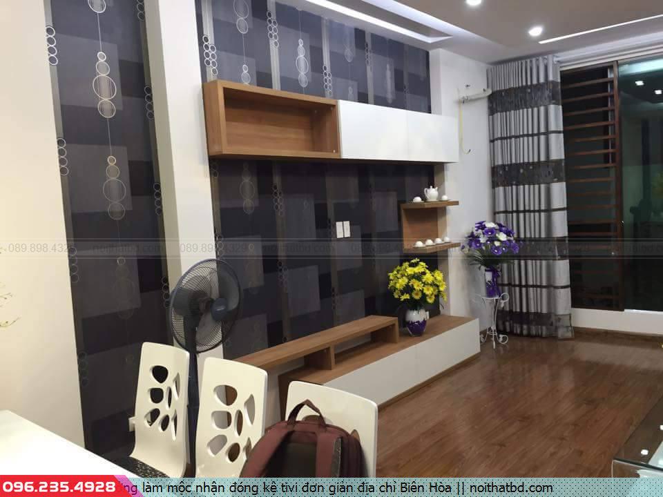 Xưởng làm mộc nhận đóng kệ tivi đơn giản địa chỉ Biên Hòa