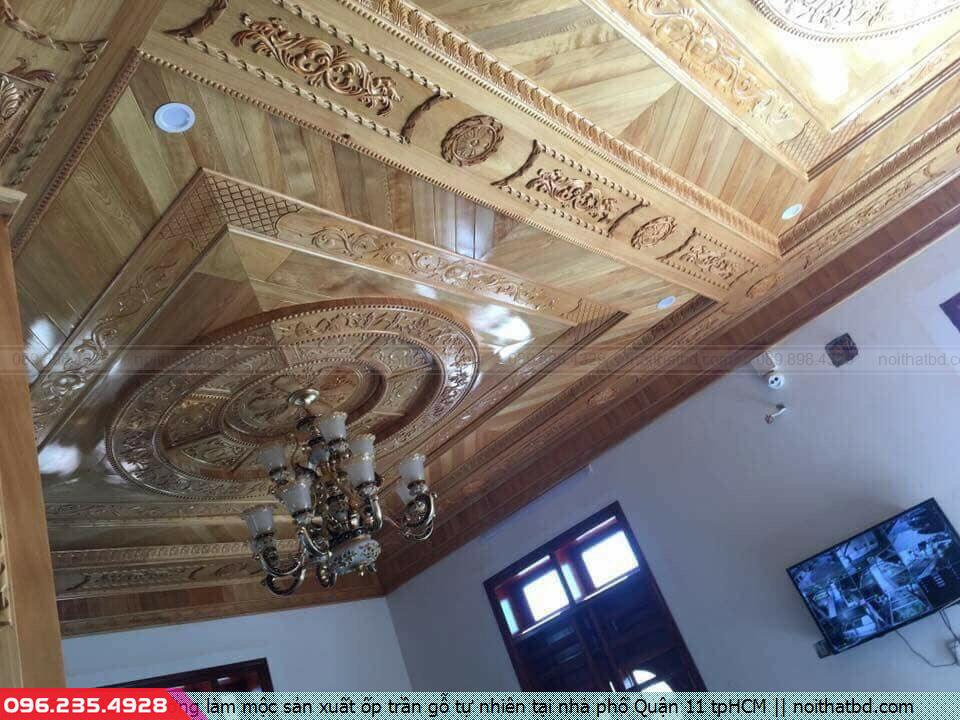 Xưởng làm mộc sản xuất ốp trần gỗ tự nhiên tại nhà phố Quận 11 tpHCM