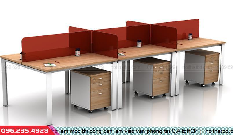 Xưởng làm mộc thi công bàn làm việc văn phòng tại Q.4 tpHCM