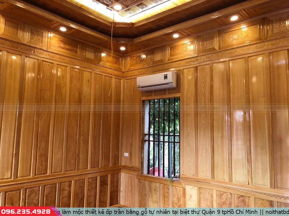 Xưởng làm mộc thiết kế ốp trần bằng gỗ tự nhiên tại biệt thự Quận 9 tpHồ Chí Minh