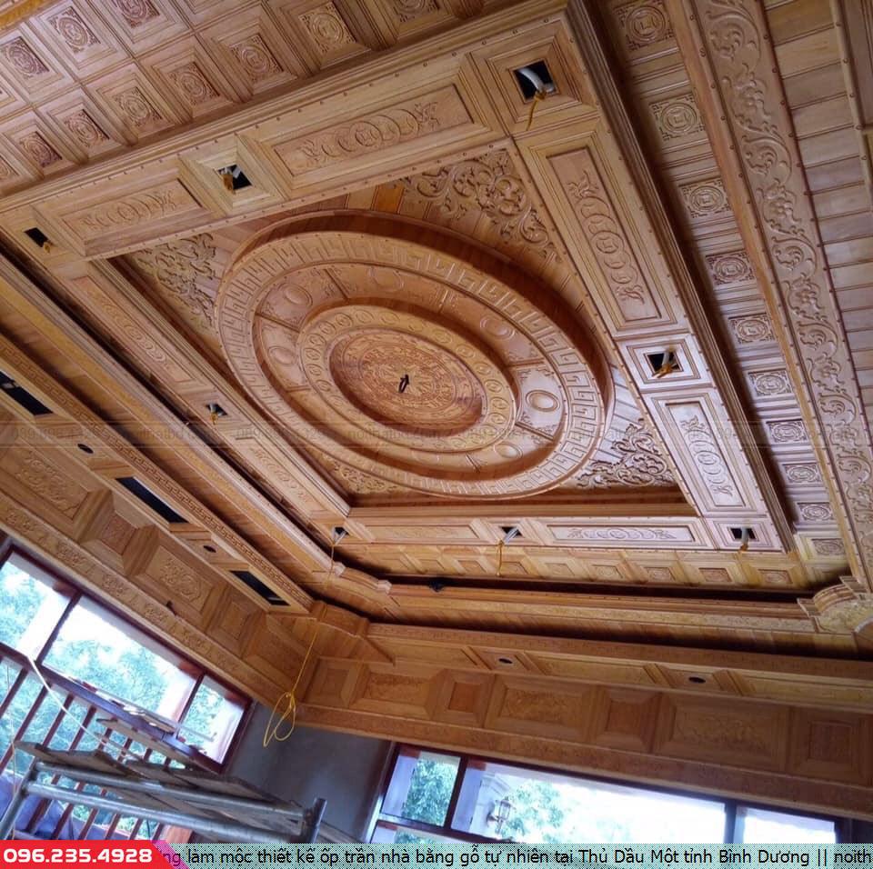 Xưởng làm mộc thiết kế ốp trần nhà bằng gỗ tự nhiên tại Thủ Dầu Một tỉnh Bình Dương