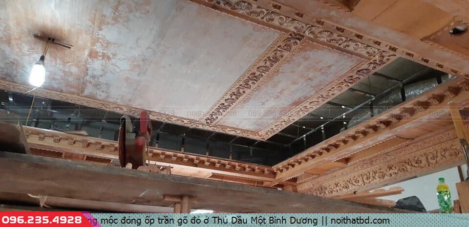 Xưởng mộc đóng ốp trần gõ đỏ ở Thủ Dầu Một Bình Dương
