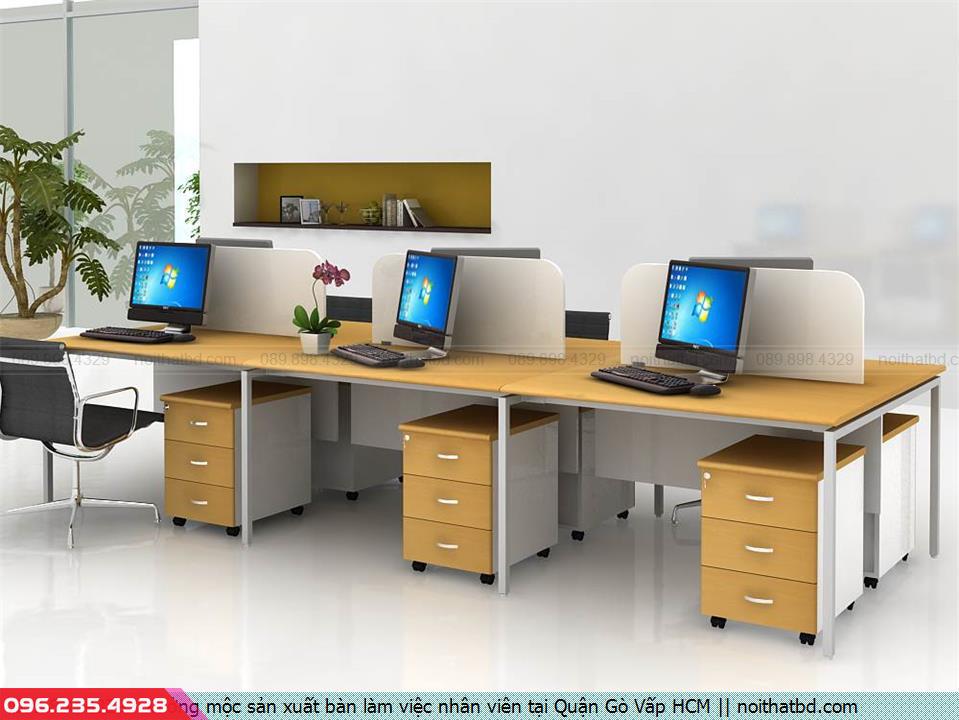 Xưởng mộc sản xuất bàn làm việc nhân viên tại Quận Gò Vấp HCM