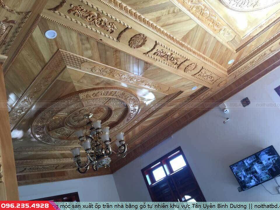 Xưởng mộc sản xuất ốp trần nhà bằng gỗ tự nhiên khu vực Tân Uyên Bình Dương