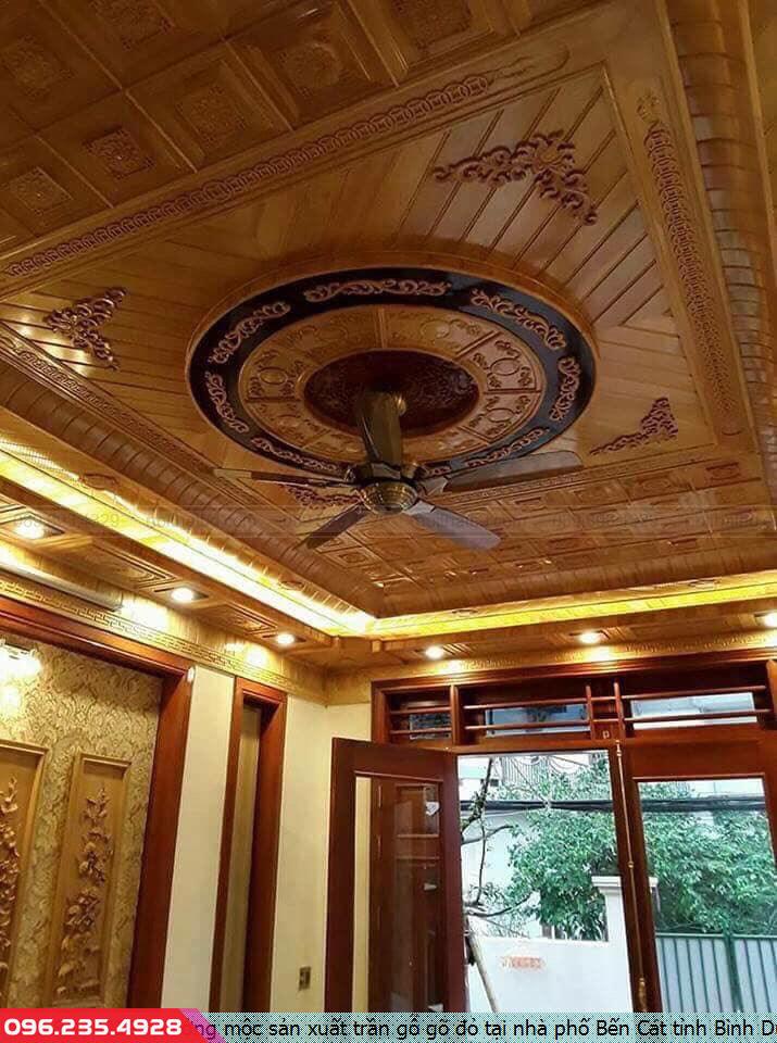 Xưởng mộc sản xuất trần gỗ gõ đỏ tại nhà phố Bến Cát tỉnh Bình Dương