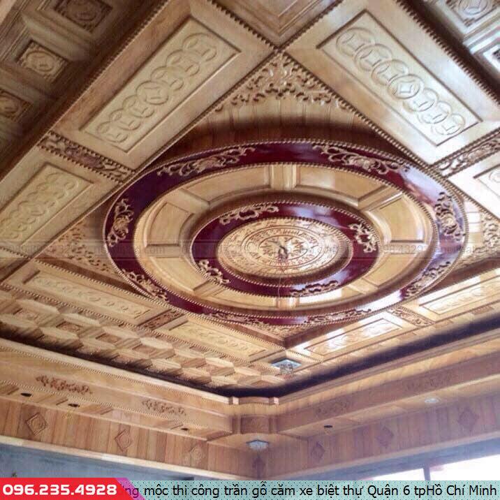 Xưởng mộc thi công trần gỗ căm xe biệt thự Quận 6 tpHồ Chí Minh